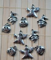 10 Assorted Silver Halloween Charms